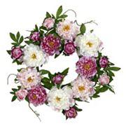 nearly natural 22 in Silk Peony Wreath