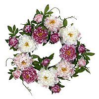 nearly natural 22-in. Silk Peony Wreath