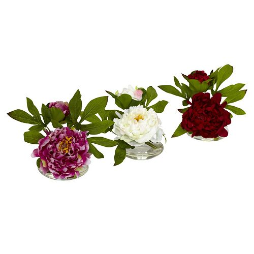 nearly natural 3-pc. Silk Peony Flower Set
