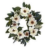 nearly natural 22-in. Silk Magnolia Wreath