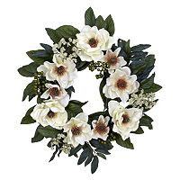 nearly natural 22 in Silk Magnolia Wreath