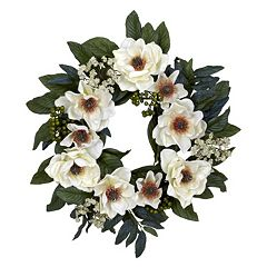nearly natural 22-in. Silk Magnolia Wreath