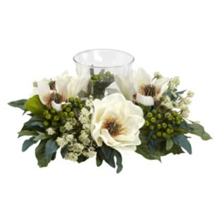 nearly natural Silk Magnolia Pillar Candle Holder