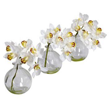 nearly natural 3-pc. Silk Cymbidium Flower Set