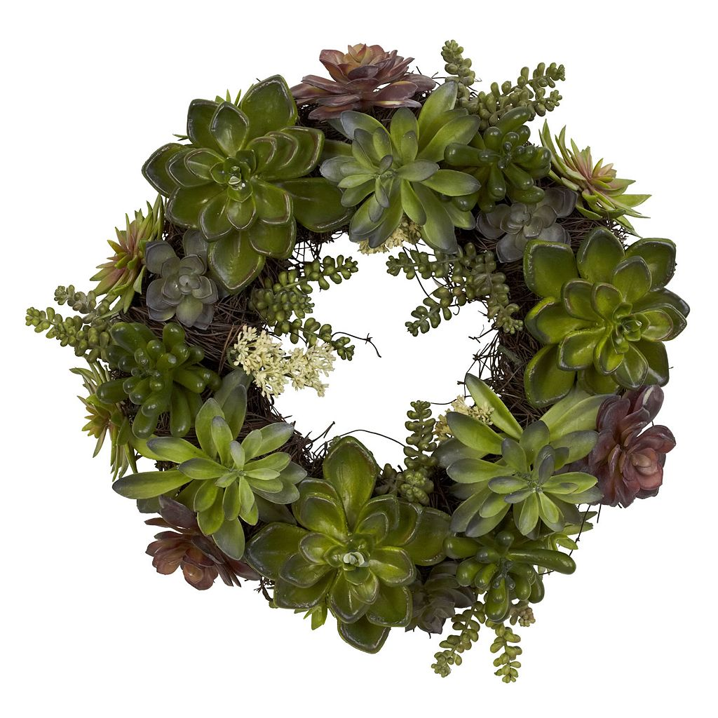 nearly natural 20-in. Succulent Wreath