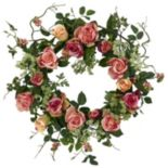 nearly natural 20 in Silk Rose Wreath