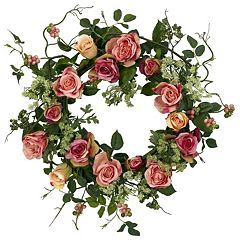 Click here to buy nearly natural 20-in. Silk Rose Wreath.