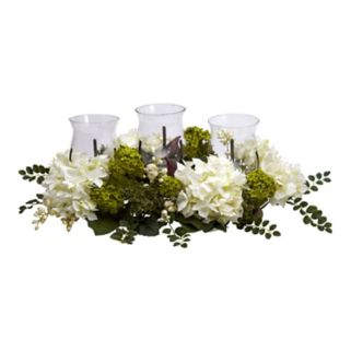nearly natural Silk Snowball Hydrangea Hurricane Candle Holder