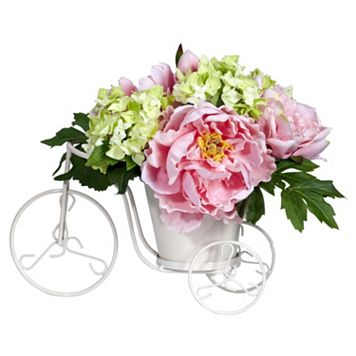 nearly natural Silk Peony and Hydrangea Tricycle Floral Arrangement