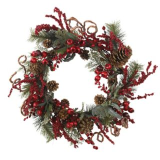 nearly natural 24-in. Artificial Berry and Pinecone Wreath