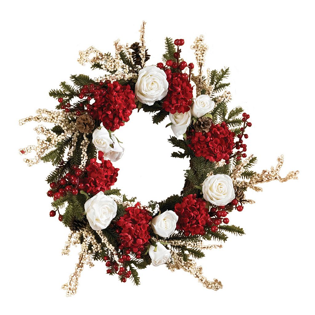 nearly natural 24-in. Hydrangea with White Roses Wreath