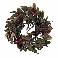 nearly natural 24-in. Pinecone, Berry & Feather Wreath