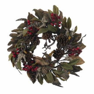 nearly natural 24-in. Pinecone, Berry and Feather Wreath