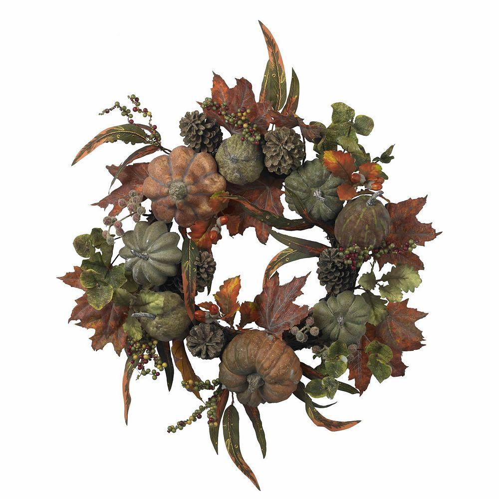 nearly natural 24-in. Pumpkin & Gourd Wreath