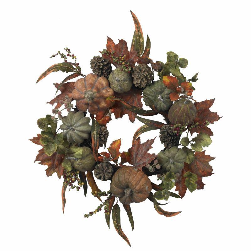 nearly natural 24-in. Pumpkin & Gourd Wreath (Green)