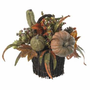 nearly natural Fall Pumpkin and Berry Table Arrangement