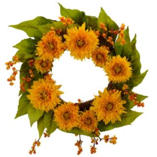 nearly natural 22-in. Golden Sunflower Wreath