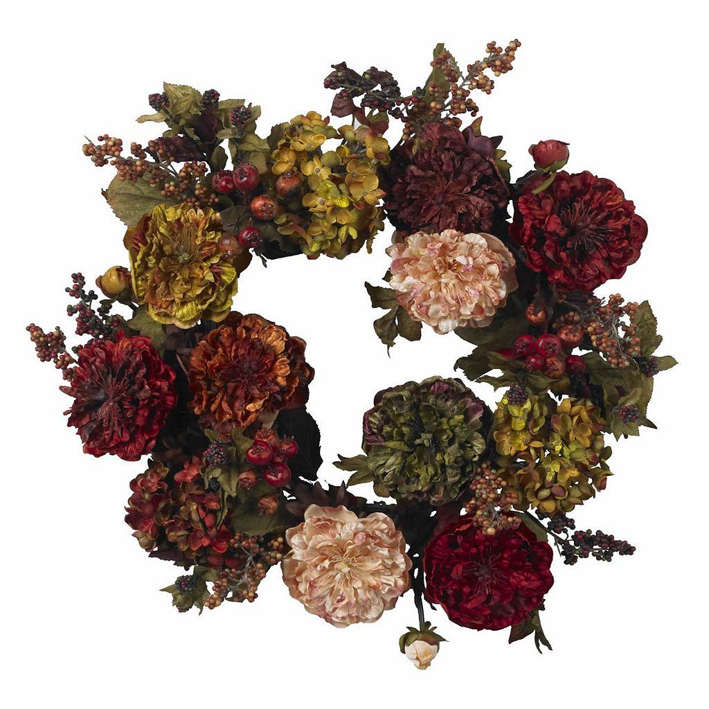 nearly natural 22-in. Autumn Hydrangea Peony Wreath