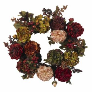 nearly natural 22-in. Autumn Hydrangea Peony Wreath