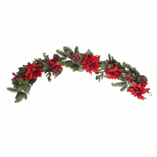 nearly natural 60-in. Poinsettia and Berry Garland