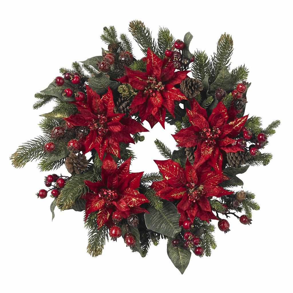 nearly natural 24-in. Poinsettia & Berry Wreath