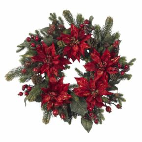 nearly natural 24-in. Poinsettia and Berry Wreath
