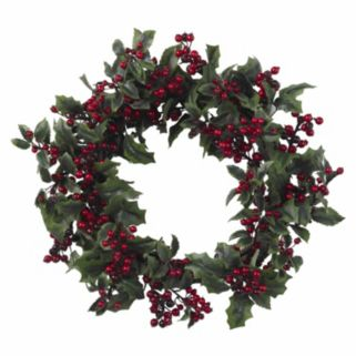 nearly natural 24-in. Holly Berry Wreath