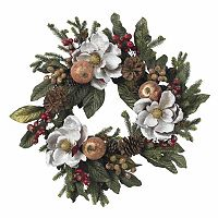 nearly natural 24-in. Magnolia Pinecone & Berry Wreath