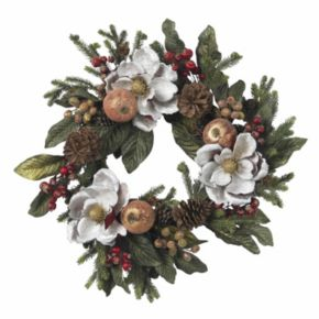 nearly natural 24-in. Magnolia Pinecone and Berry Wreath