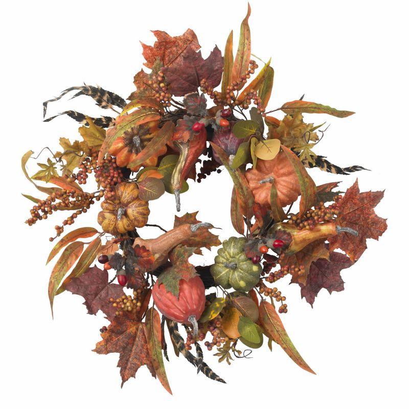 nearly natural 24-in. Pumpkin & Berry Wreath (Orange)