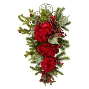 nearly natural 27-in. Christmas Hydrangea Teardrop