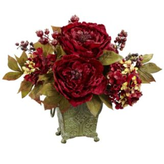 nearly natural Peony and Hydrangea Silk Flower Arrangement