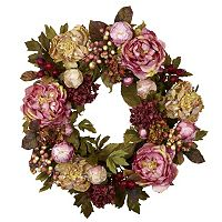 nearly natural 24-in. Peony Hydrangea Wreath