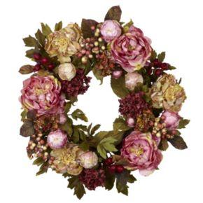nearly natural 24-in. Peony Hydrangea Wreath