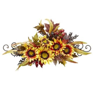 nearly natural Sunflower Swag with Metal Frame