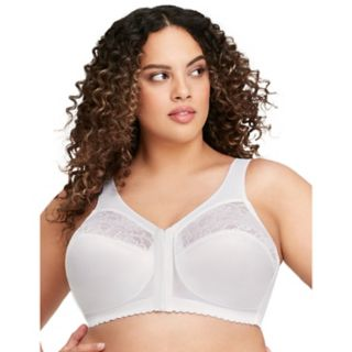 Glamorise Bra: Magic Lift Sheer Lace Unlined Front-Closure Full-Figure Bra 1200