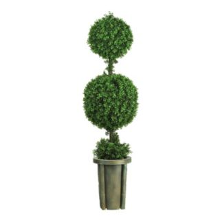 nearly natural 5-ft. Double Ball Leucodendron Topiary - Indoor and Outdoor