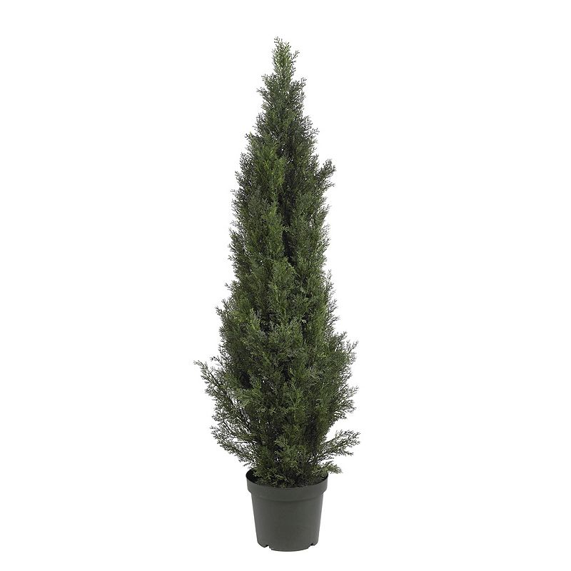 nearly natural 5-ft. Cedar Pine Tree - Indoor and Outdoor, Green Bright green foliage looks and feels real. Basic black planter filled with soiladds to the natural feel. Height: 5-ft. Plastic Wipe clean For bothindoor & outdoor use Model no. 5291  Size: One Size. Gender: unisex. Age Group: adult.