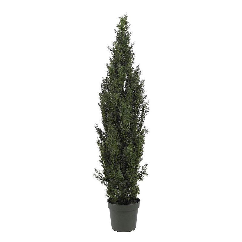 nearly natural 6-ft. Cedar Pine Tree - Indoor and Outdoor, Green Bright green foliage looks and feels real. Basic black planter filled with soiladds to the natural feel. Height: 6-ft. Plastic Wipe clean For both indoor & outdoor space Model no. 5292  Size: One Size. Gender: unisex. Age Group: adult.