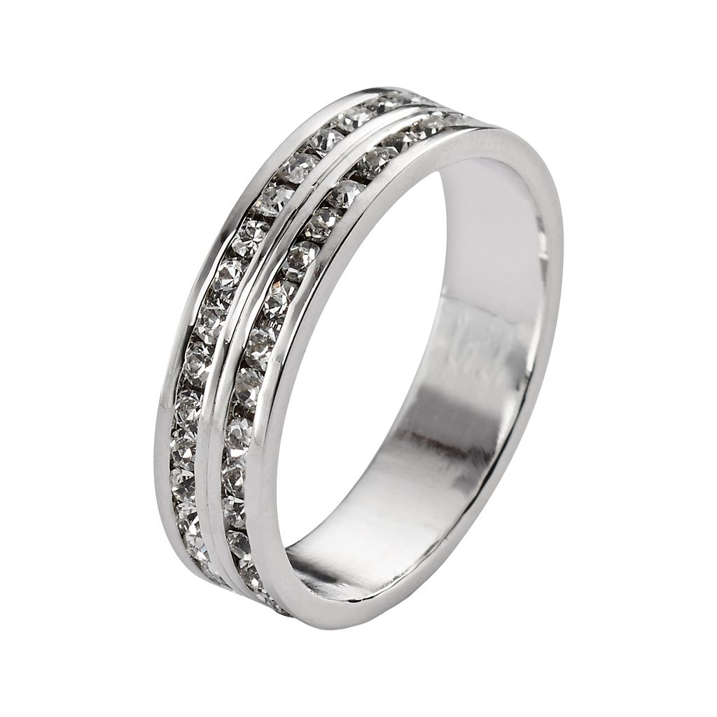 Traditions Sterling Silver Swarovski Crystal Eternity Ring