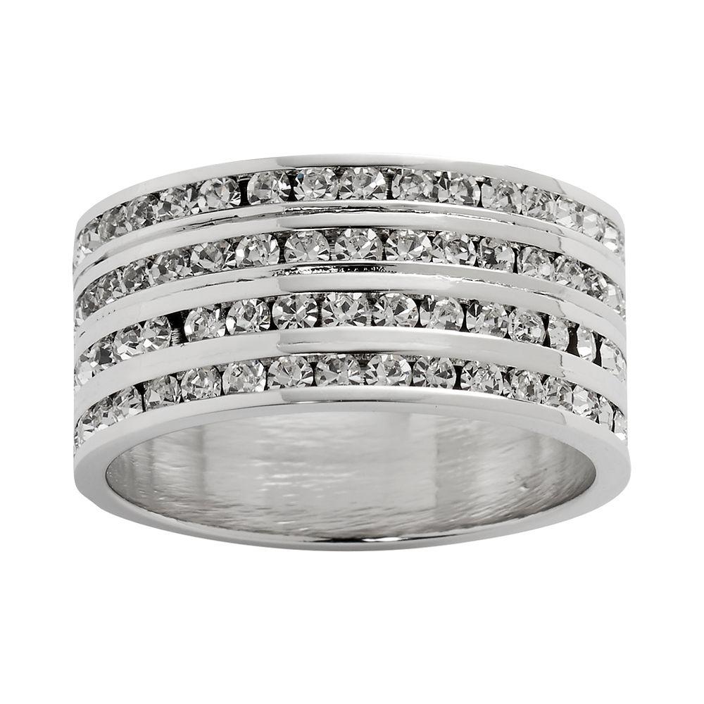 Traditions Sterling Silver Swarovski Crystal Eternity Ring