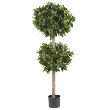nearly natural 57-in. Silk Sweet Bay Double Ball Topiary Tree