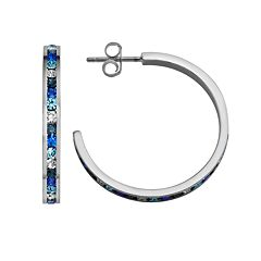 Traditions Sterling Silver Blue & White Swarovski Crystal Hoop Earrings