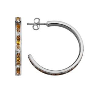 Traditions Sterling Silver Yellow and White Swarovski Crystal Hoop Earrings