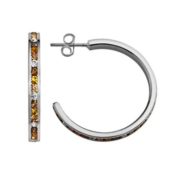Traditions Sterling Silver Yellow & White Swarovski Crystal Hoop Earrings