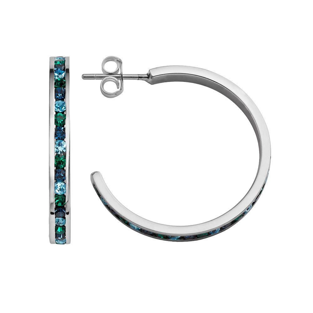 Traditions Sterling Silver Green & Blue Swarovski Crystal Hoop Earrings