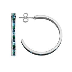 Traditions Sterling Silver Green & Blue Swarovski Crystal Hoop Earrings