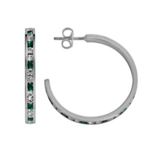 Traditions Sterling Silver Green and White Swarovski Crystal Hoop Earrings