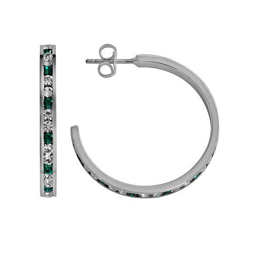 Traditions Sterling Silver Green & White Swarovski Crystal Hoop Earrings