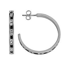 Traditions Sterling Silver Black & White Swarovski Crystal Hoop Earrings